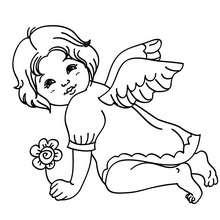 Dibujo de un angelito navideño para colorear - Dibujos para Colorear y Pintar - Dibujos para colorear FIESTAS - Dibujos para colorear de NAVIDAD - Dibujos de ANGELES NAVIDAD para colorear