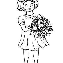 Dibujo de un angel navideño con un ramo de flores - Dibujos para Colorear y Pintar - Dibujos para colorear FIESTAS - Dibujos para colorear de NAVIDAD - Dibujos de ANGELES NAVIDAD para colorear