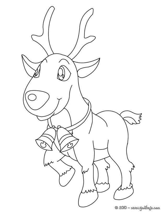 Dibujo para colorear : un reno con campanitas