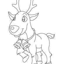 Dibujo de un reno con campanitas para colorear - Dibujos para Colorear y Pintar - Dibujos para colorear FIESTAS - Dibujos para colorear de NAVIDAD - Colorear dibujos RENOS NAVIDEÑOS
