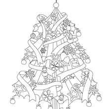 Dibujo para colorear : el arbol navideño con una estrella