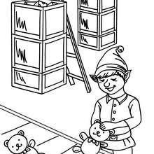 Dibujo para colorear ayudante de Santa Claus en la fabrica - Dibujos para Colorear y Pintar - Dibujos para colorear FIESTAS - Dibujos para colorear de NAVIDAD - Dibujos de AYUDANTES DE NAVIDAD para colorear