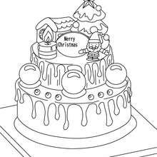 Dibujo para colorear : pastel de navidad