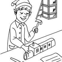 Dibujo para colorear : ayudante de Santa Claus fabricando un tren