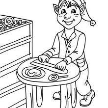 Dibujo para colorear ayudante de Santa Claus fabricando paletas - Dibujos para Colorear y Pintar - Dibujos para colorear FIESTAS - Dibujos para colorear de NAVIDAD - Dibujos de AYUDANTES DE NAVIDAD para colorear