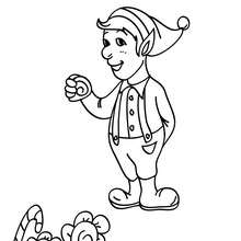 Dibujo de ayudante fabricando chuches para colorear - Dibujos para Colorear y Pintar - Dibujos para colorear FIESTAS - Dibujos para colorear de NAVIDAD - Dibujos de AYUDANTES DE NAVIDAD para colorear