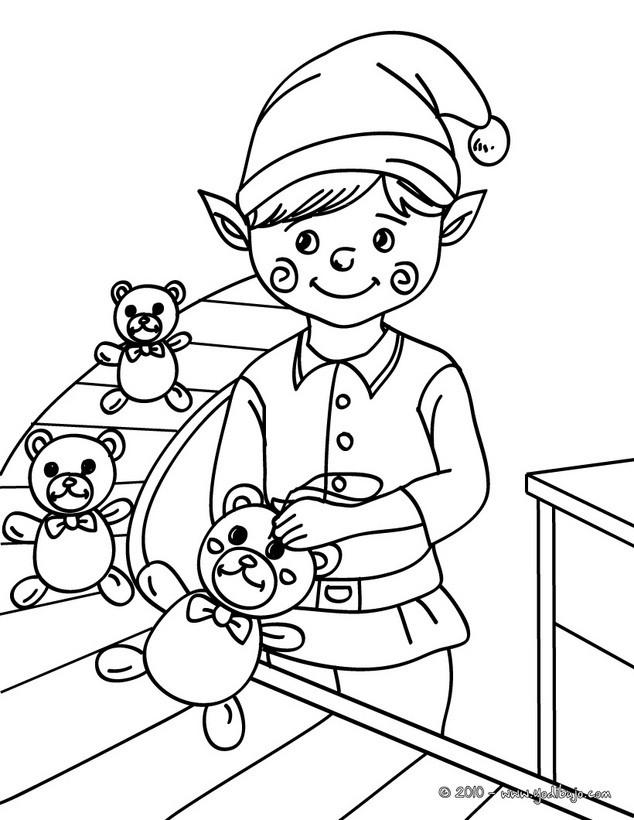 Dibujos para colorear ayudante de santa claus fabricando ositos - es ...