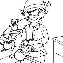 Dibujo para colorear : ayudante de Santa Claus fabricando ositos