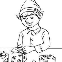 Dibujo para colorear ayudante etiquetando los regalos - Dibujos para Colorear y Pintar - Dibujos para colorear FIESTAS - Dibujos para colorear de NAVIDAD - Dibujos de AYUDANTES DE NAVIDAD para colorear