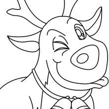 Dibujo para colorear guiño del reno navideño - Dibujos para Colorear y Pintar - Dibujos para colorear FIESTAS - Dibujos para colorear de NAVIDAD - Colorear dibujos RENOS NAVIDEÑOS