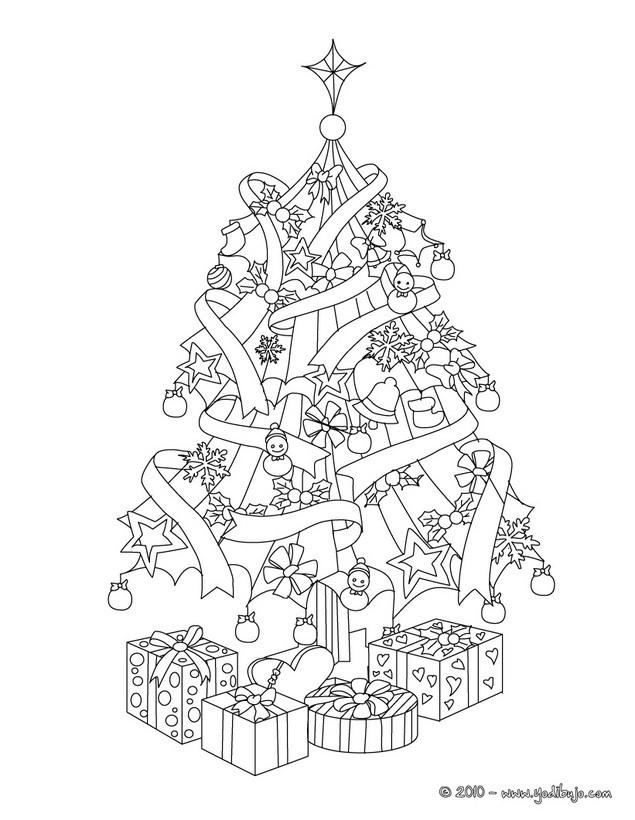 Dibujos para colorear el arbol de navidad con regalos - es.hellokids.com