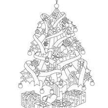 Dibujo para colorear : el arbol de navidad con regalos