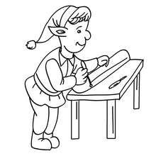 Dibujo para colorear ayudante de santa claus fabricando esquis - Dibujos para Colorear y Pintar - Dibujos para colorear FIESTAS - Dibujos para colorear de NAVIDAD - Dibujos de AYUDANTES DE NAVIDAD para colorear