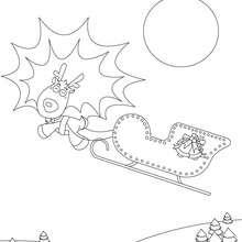 Dibujo para colorear trineo de navidad - Dibujos para Colorear y Pintar - Dibujos para colorear FIESTAS - Dibujos para colorear de NAVIDAD - TRINEO NAVIDAD para colorear