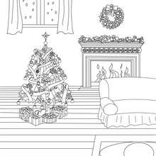 Dibujo para colorear : una chimenea de navidad