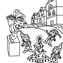 Dibujo para colorear santa claus con sus ayudantes - Dibujos para Colorear y Pintar - Dibujos para colorear FIESTAS - Dibujos para colorear de NAVIDAD - Dibujos de AYUDANTES DE NAVIDAD para colorear