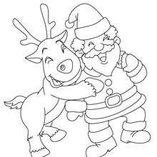 Dibujo para colorear Santa Claus con el reno Rodolfo - Dibujos para Colorear y Pintar - Dibujos para colorear FIESTAS - Dibujos para colorear de NAVIDAD - Colorear dibujos RENOS NAVIDEÑOS