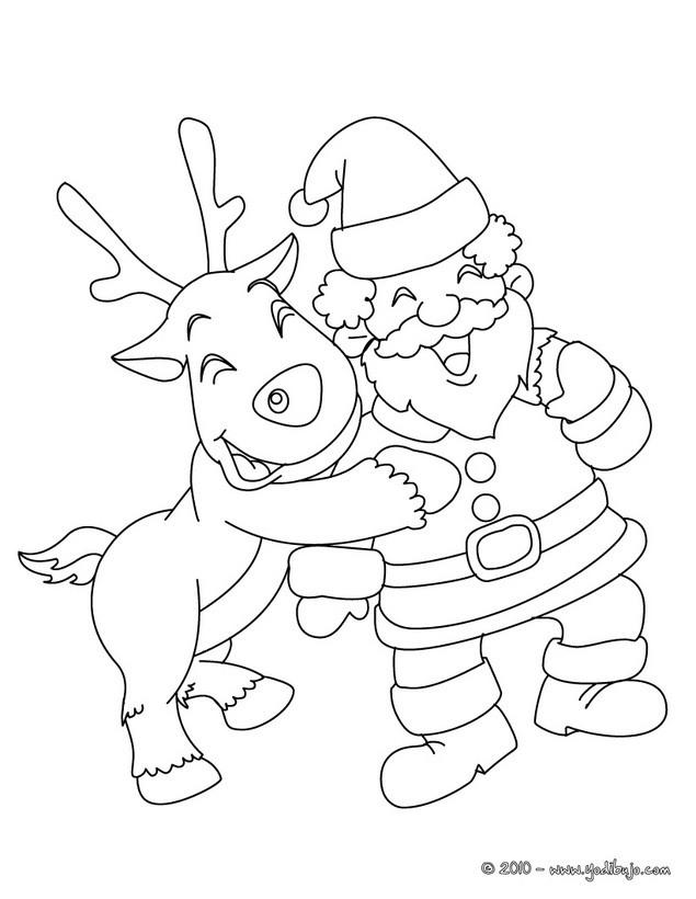 Dibujo para colorear : Santa Claus con el reno Rodolfo