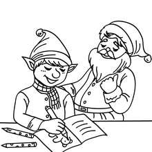 Dibujo para colorear ayudante con Santa Clau - Dibujos para Colorear y Pintar - Dibujos para colorear FIESTAS - Dibujos para colorear de NAVIDAD - Dibujos de AYUDANTES DE NAVIDAD para colorear