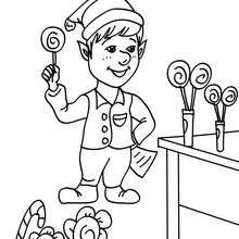 Dibujo para colorear dulces de navidad - Dibujos para Colorear y Pintar - Dibujos para colorear FIESTAS - Dibujos para colorear de NAVIDAD - Dibujos de AYUDANTES DE NAVIDAD para colorear