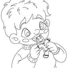 Dibujo para colorear : niño comiendo galletas de jengibre