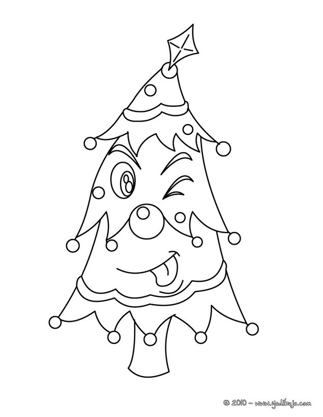 Dibujos para colorear arbol de navidad con estrellas - es.hellokids.com