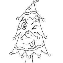 Dibujo para colorear arbol navideño chistoso - Dibujos para Colorear y Pintar - Dibujos para colorear FIESTAS - Dibujos para colorear de NAVIDAD - Dibujos para colorear ARBOL DE NAVIDAD