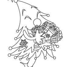 Dibujo para colorear : arbol y regalos navideños