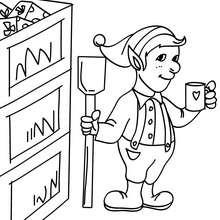 Dibujo para colorear ayudante de santa claus descansando - Dibujos para Colorear y Pintar - Dibujos para colorear FIESTAS - Dibujos para colorear de NAVIDAD - Dibujos de AYUDANTES DE NAVIDAD para colorear