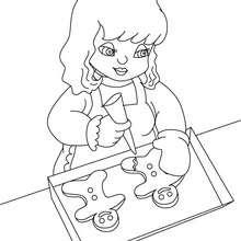 Dibujo para colorear niña preparando galletas de navidad - Dibujos para Colorear y Pintar - Dibujos para colorear FIESTAS - Dibujos para colorear de NAVIDAD - Dibujos de GALLETAS DE NAVIDAD para colorear