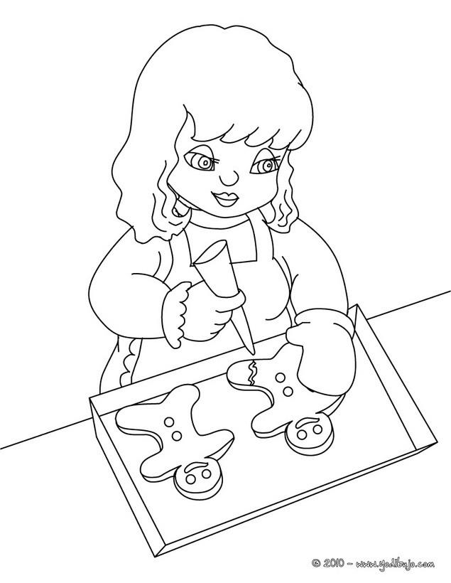 Dibujo de Navidad: niña preparando galletas de navidad para colorear
