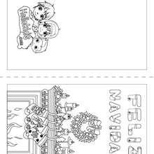 Dibujo para colorear : Carta chimenea para doblar