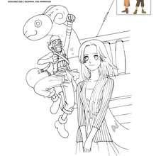 Dibujo para colorear KAYA y USOPP - Dibujos para Colorear y Pintar - Dibujos para colorear MANGA - Dibujos para colorear ONE PIECE