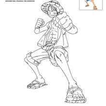 Dibujo de LUFFY de pie para colorear - Dibujos para Colorear y Pintar - Dibujos para colorear MANGA - Dibujos para colorear ONE PIECE
