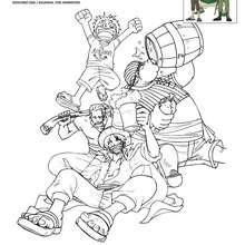 Dibujo para colorear LUFFY y el equipo de SHANKS - Dibujos para Colorear y Pintar - Dibujos para colorear MANGA - Dibujos para colorear ONE PIECE