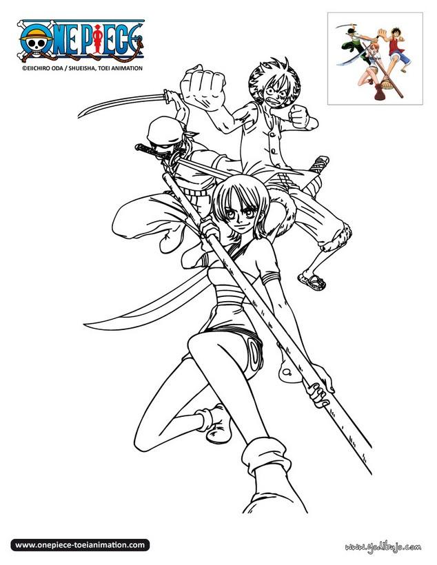 Dibujos para colorear luffy zoro y nami - Coloriage one piece ...
