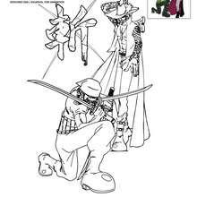 Dibujo para colorear ZORO y MIHAWK - Dibujos para Colorear y Pintar - Dibujos para colorear MANGA - Dibujos para colorear ONE PIECE