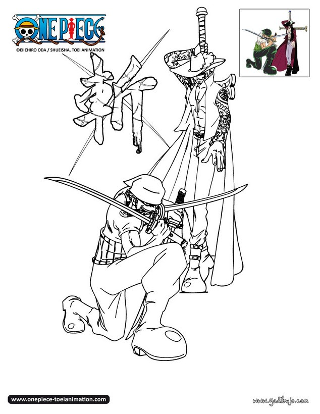 Dibujos para colorear zoro y mihawk for One piece dibujos