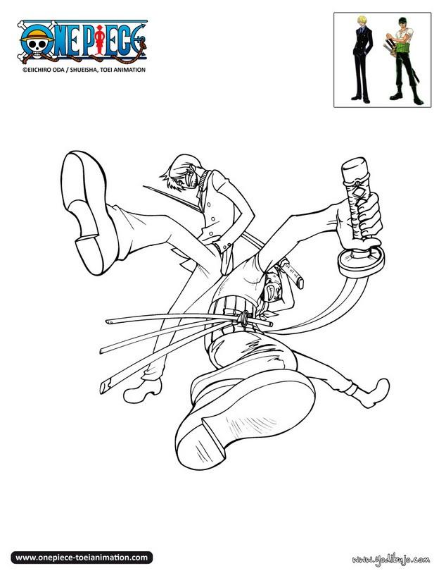 Dibujos para colorear zoro y sanji combatiendo es for One piece dibujos