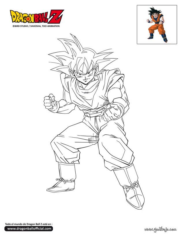 Dibujo para colorear : GOKU combativo