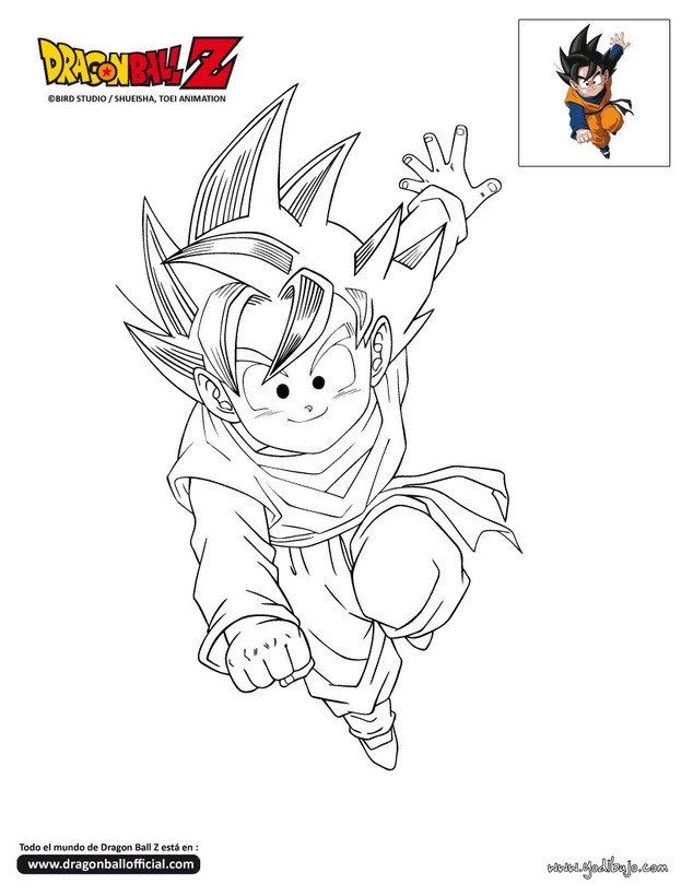 Dibujo para colorear SON GOTEN - Dibujos para colorear DRAGON BALL Z