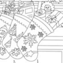 CALCETIN NAVIDAD para colorear - Dibujos para colorear FIESTAS - Dibujos para Colorear y Pintar