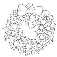 Dibujo para colorar corona navideña - Dibujos para Colorear y Pintar - Dibujos para colorear FIESTAS - Dibujos para colorear de NAVIDAD - ADORNOS NAVIDEÑOS para colorear