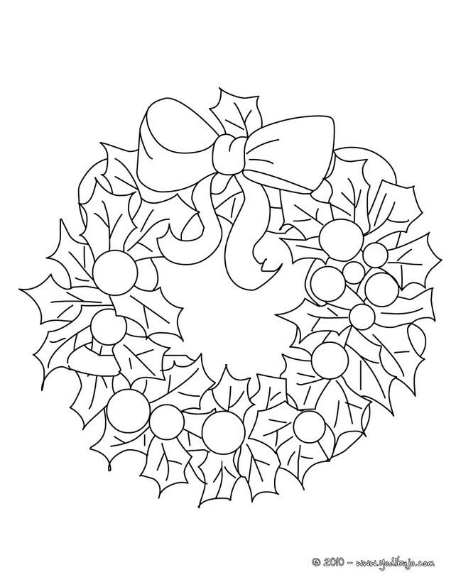 Dibujos para colorear corona navideña - es.hellokids.com
