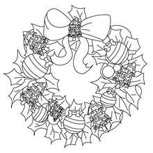 Dibujo para colorear corona de Navidad - Dibujos para Colorear y Pintar - Dibujos para colorear FIESTAS - Dibujos para colorear de NAVIDAD - ADORNOS NAVIDEÑOS para colorear