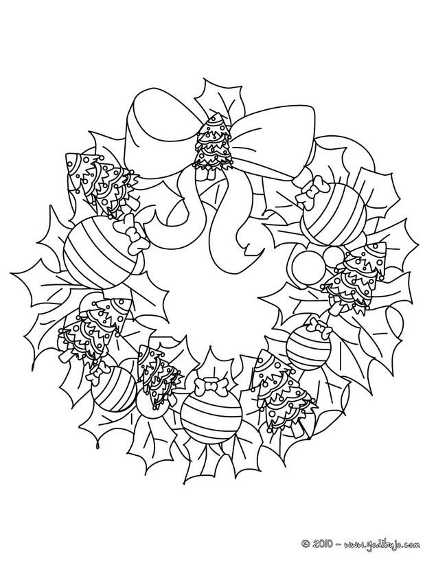 Dibujos para colorear corona de navidad - es.hellokids.com