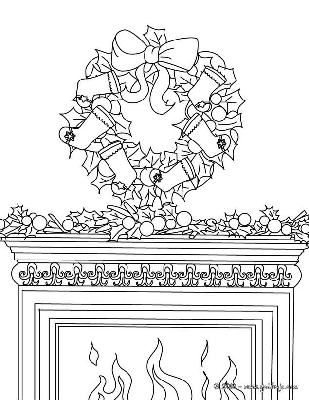 Dibujos para colorear corona con chimenea de navidad es - Dibujos de chimeneas de navidad ...