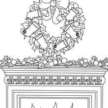Dibujo para colorear : corona con chimenea de navidad