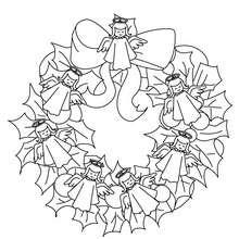 Dibujo para colorear : corona de navidad con angeles