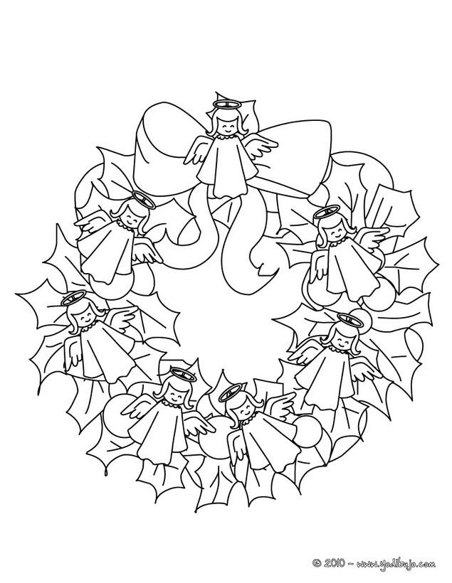Dibujos para colorear corona de navidad con angeles  eshellokidscom
